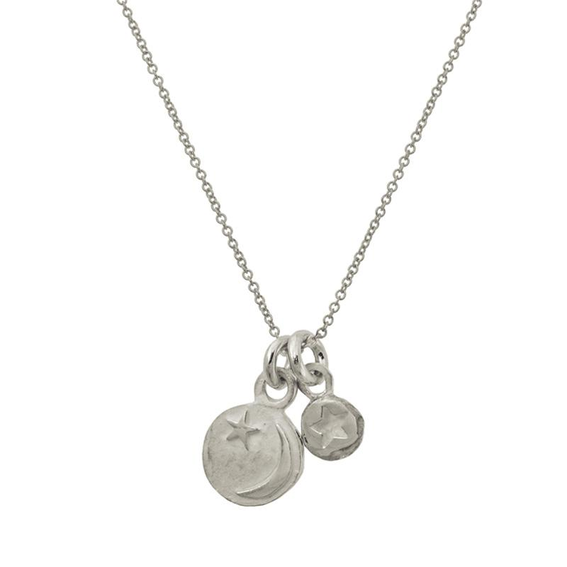 Star and Crescent Double Charm Necklace-Brevard