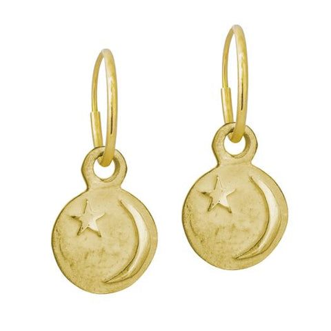Gold Star and Crescent • Endless Hoop Charm Earring-Brevard