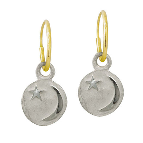 Star and Crescent • Endless Hoop Charm Earring-Brevard