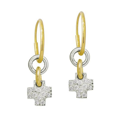 Pavé Two-Tone Thundercross Earring-Brevard