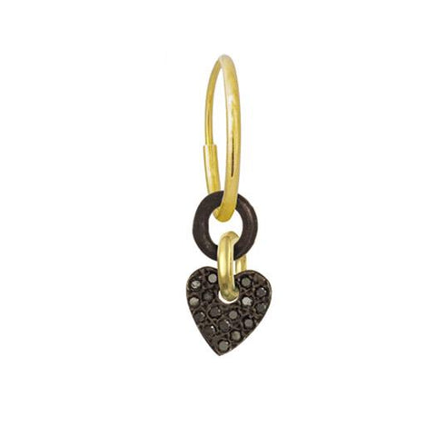 Black Diamond Pavé Two-Tone Thunderheart Earring-Brevard