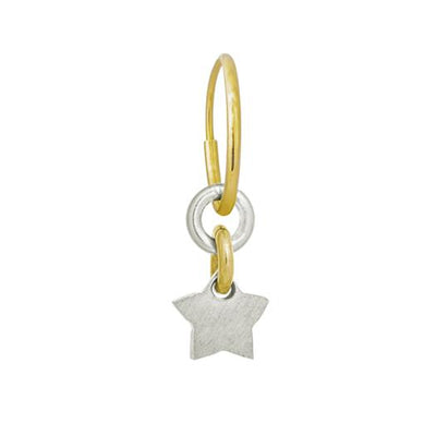 Two-Tone Thunderstar • Endless Hoop Charm Earring-Brevard