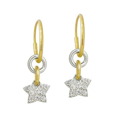 Pavé Two-Tone Thunderstar • Endless Hoop Charm Earring-Brevard