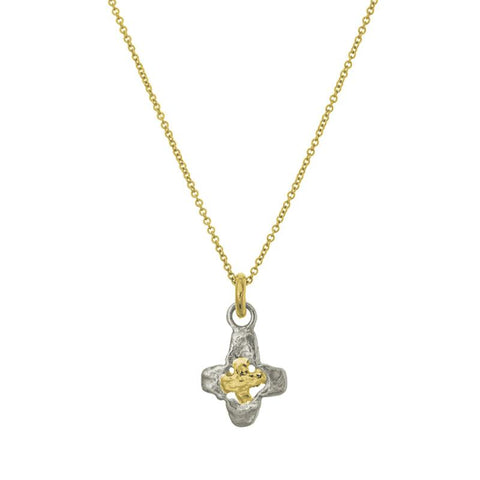 Two-Tone Tiny Signature Cross Charm Necklace-Brevard
