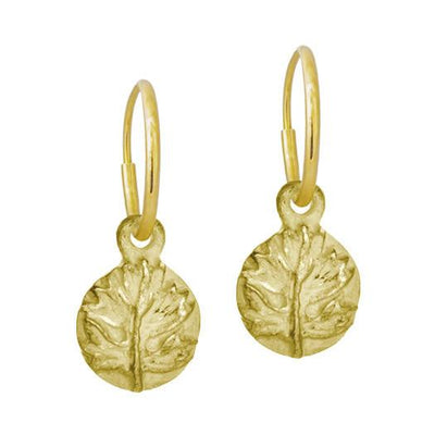 Gold Tiny Acanthus • Endless Hoop Charm Earring-Brevard
