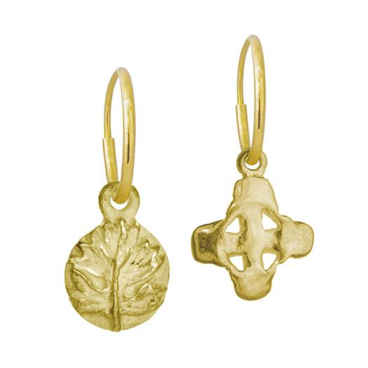 Gold Tiny Acanthus + Tiny Signature Cross Mismatch Earring Pair-Brevard