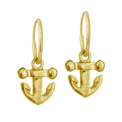 Gold Tiny Anchor • Endless Hoop Charm Earring-Brevard