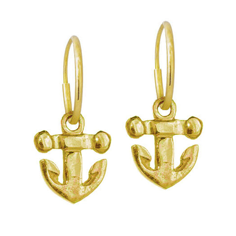 Gold Tiny Anchor Earring-Brevard