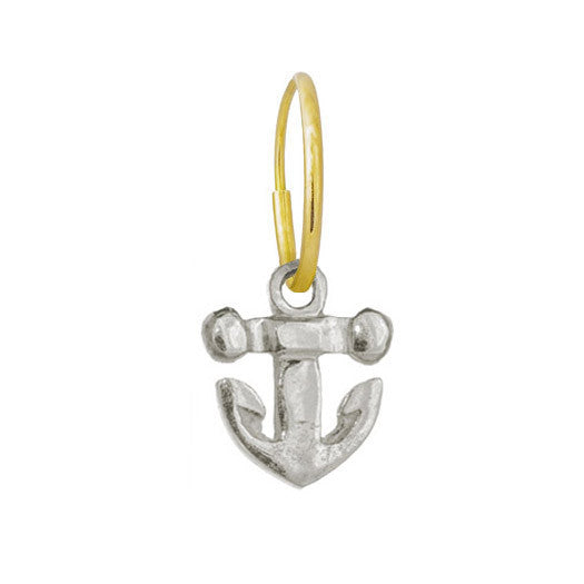 Tiny Anchor • Endless Hoop Charm Earring-Brevard