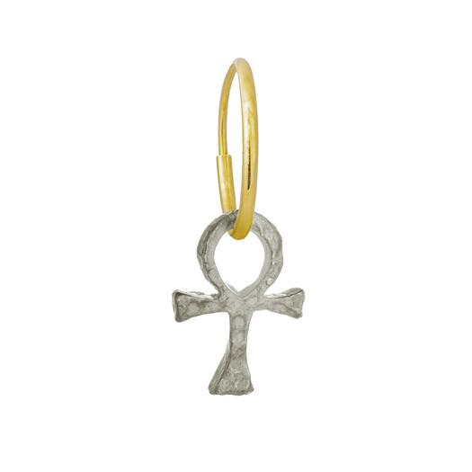 Tiny Ankh • Endless Hoop Charm Earring-Brevard