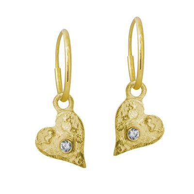 Gold Tiny Apollo Heart with Stone • Endless Hoop Charm Earring-Brevard