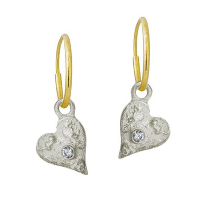 Tiny Apollo Heart with Stone • Endless Hoop Charm Earring-Brevard
