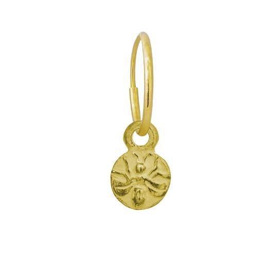 Gold Baby Bee • Endless Hoop Charm Earring-Brevard