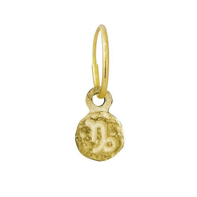 Gold Tiny Capricorn • Endless Hoop Charm Earring-Brevard