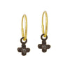 Black Diamond Tiny Center Cross • Endless Hoop Charm Earring-Brevard