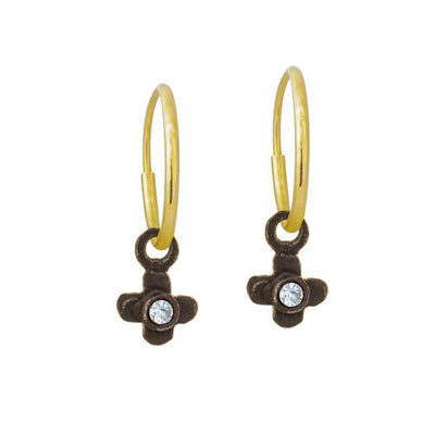 Oxidized Tiny Center Cross with Stone • Endless Hoop Charm Earring-Brevard