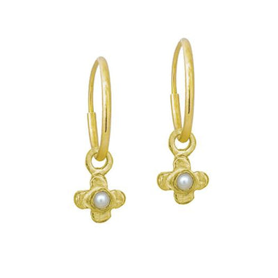 Gold Tiny Center Cross with Pearl • Endless Hoop Charm Earring-Brevard