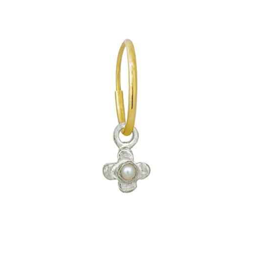 Tiny Center Cross with Pearl • Endless Hoop Charm Earring-Brevard