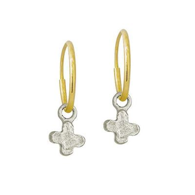 Tiny Center Cross • Endless Hoop Charm Earring-Brevard