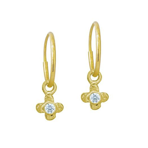 Gold Tiny Center Cross with Stone • Endless Hoop Charm Earring-Brevard