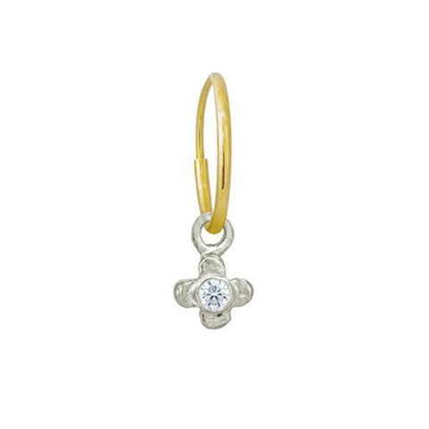 Tiny Center Cross with Stone • Endless Hoop Charm Earring-Brevard