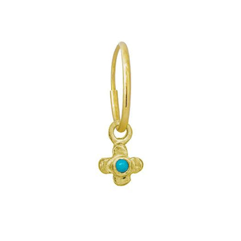 Turquoise Gold Tiny Center Cross • Endless Hoop Charm Earring-Brevard