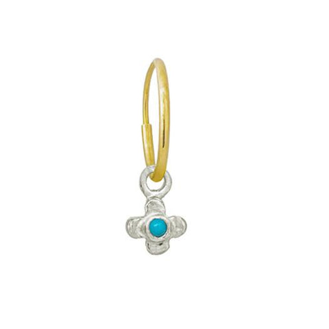 Tiny Center Cross with Turquoise • Endless Hoop Charm Earring-Brevard