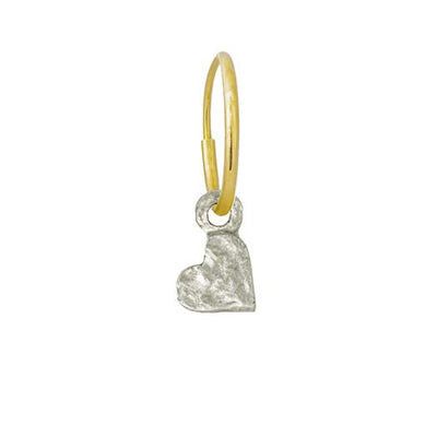 Tiny Center Heart • Endless Hoop Charm Earring-Brevard