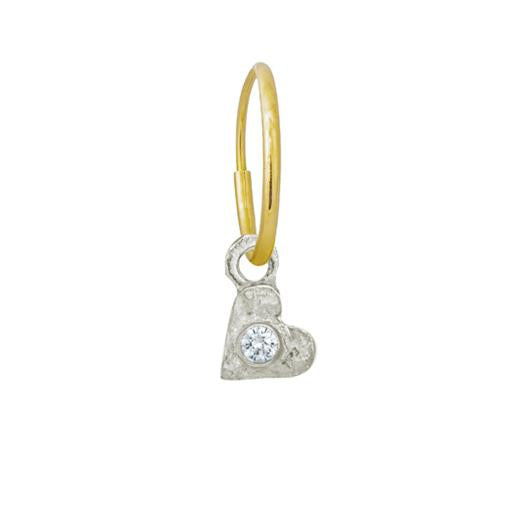 Tiny Center Heart with Stone • Endless Hoop Charm Earring-Brevard