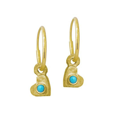 Gold Tiny Center Heart with Turquoise • Endless Hoop Charm Earring-Brevard
