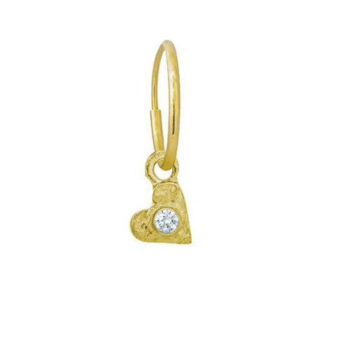 Gold Tiny Center Heart Earring with Stone-Brevard