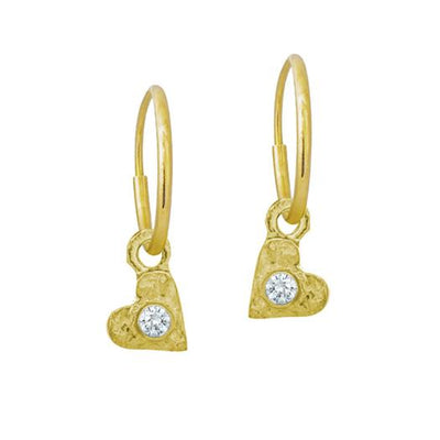 Gold Tiny Center Heart with Stone • Endless Hoop Charm Earring-Brevard