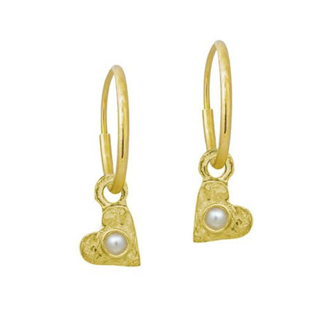 Gold Tiny Center Heart with Pearl • Endless Hoop Charm Earring-Brevard