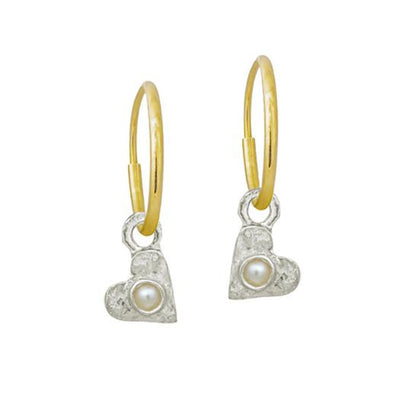 Tiny Center Heart with Pearl • Endless Hoop Charm Earring-Brevard