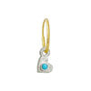 Tiny Center Heart with Turquoise • Endless Hoop Charm Earring-Brevard