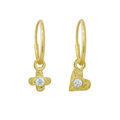Gold Tiny Center Heart + Cross with Stone Mismatch Earring Pair-Brevard