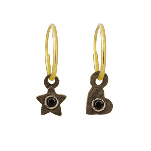 d17db3e85 Black Diamond Tiny Center Star + Heart Mismatch Earring Pair-Brevard ...