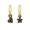 Black Diamond Tiny Center Star & Heart • Mismatch Endless Hoop Charm Earrings-Brevard