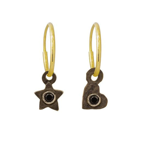 Black Diamond Tiny Center Star + Heart Mismatch Earring Pair-Brevard