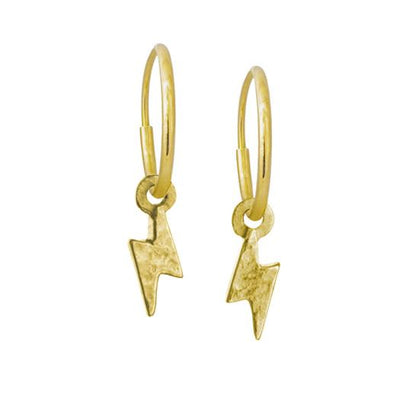 Gold Tiny Center Lightning Bolt • Endless Hoop Charm Earring-Brevard