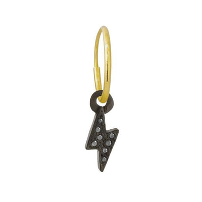 Black Diamond Pavé Tiny Center Lightning Bolt • Endless Hoop Charm Earring-Brevard