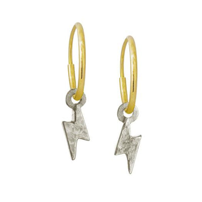 Tiny Center Lightning Bolt • Endless Hoop Charm Earring-Brevard