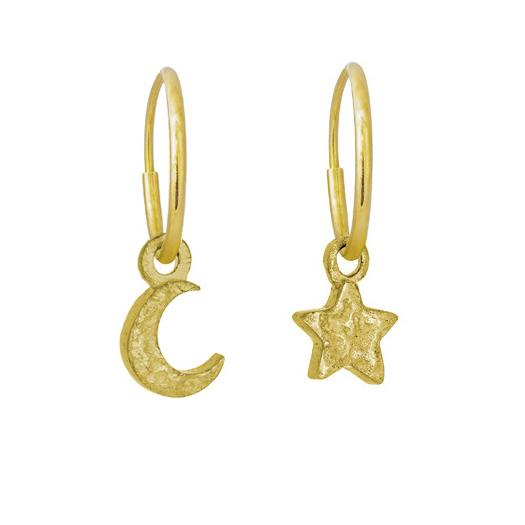 Gold Tiny Center Star + Moon • MISMATCH ENDLESS HOOP CHARM EARRING PAIR-Brevard