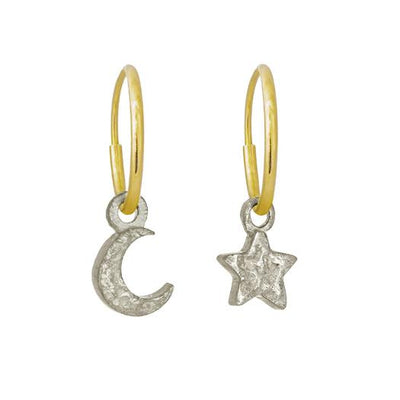 Tiny Center Star + Moon Mismatch Earring Pair-Brevard