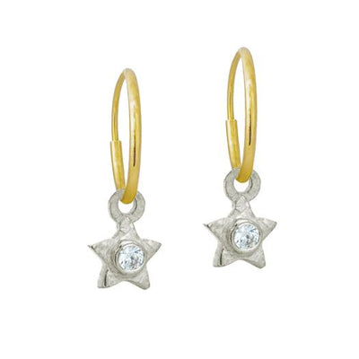 Tiny Center Star with Stone • Endless Hoop Charm Earring-Brevard