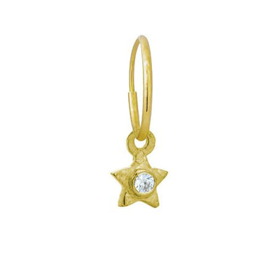 Gold Tiny Center Star with Stone • Endless Hoop Charm Earring-Brevard
