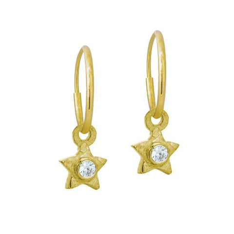 Gold Tiny Center Star Earring with Stone-Brevard