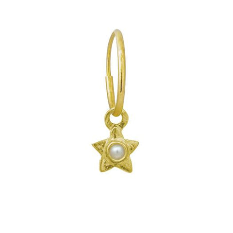 Gold Tiny Center Star with Pearl • Endless Hoop Charm Earring-Brevard