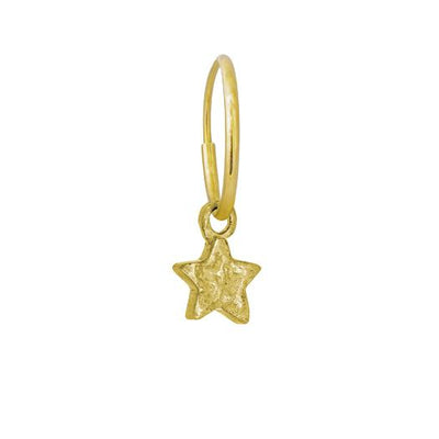 Gold Tiny Center Star • Endless Hoop Charm Earring-Brevard