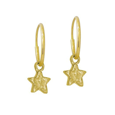 Gold Tiny Center Star Earring-Brevard